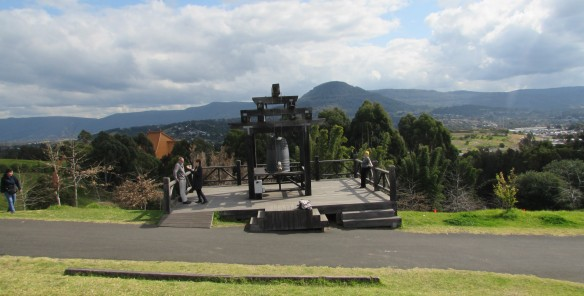 At the Bell of Gratitude overlooking the Illawarra region of NSW towards Mt Kembla